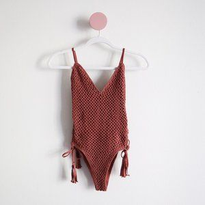Forever 21 Lace-Up Crochet One-Piece Swimsuit